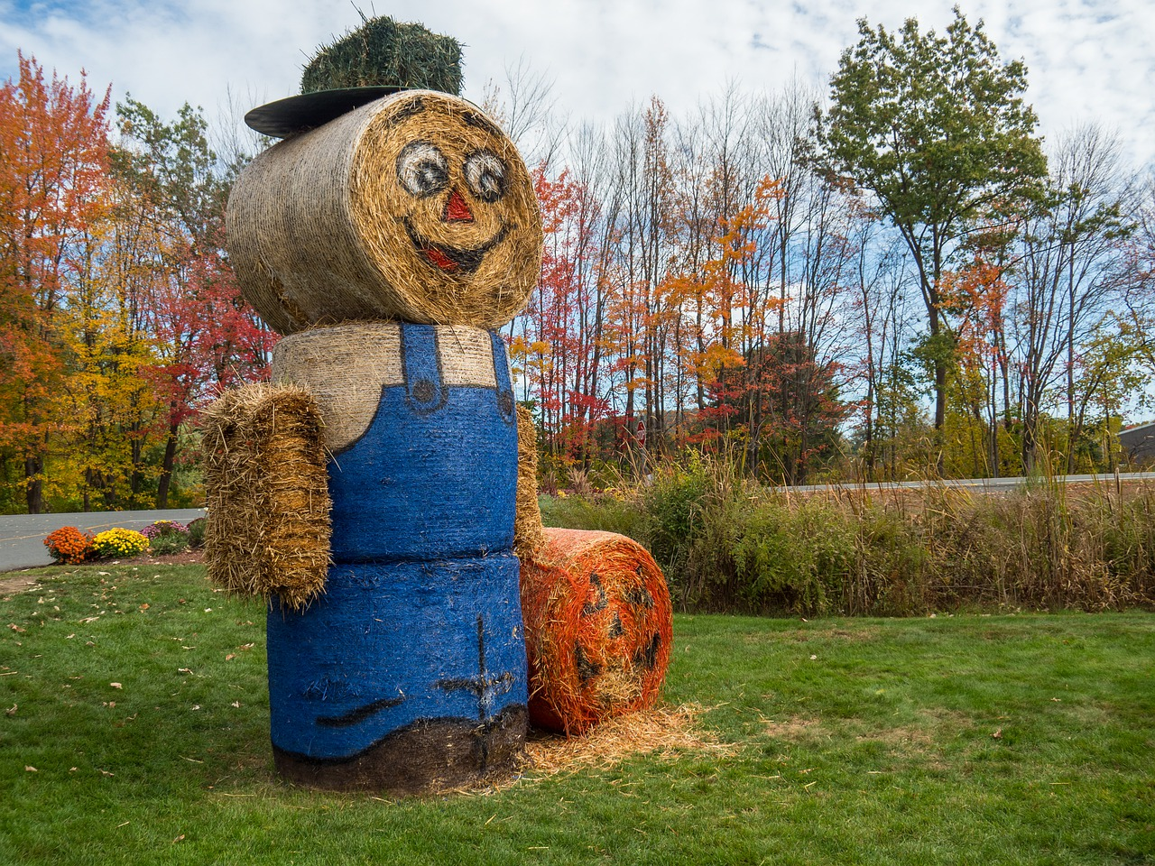 halloween autumn hay scarecrow