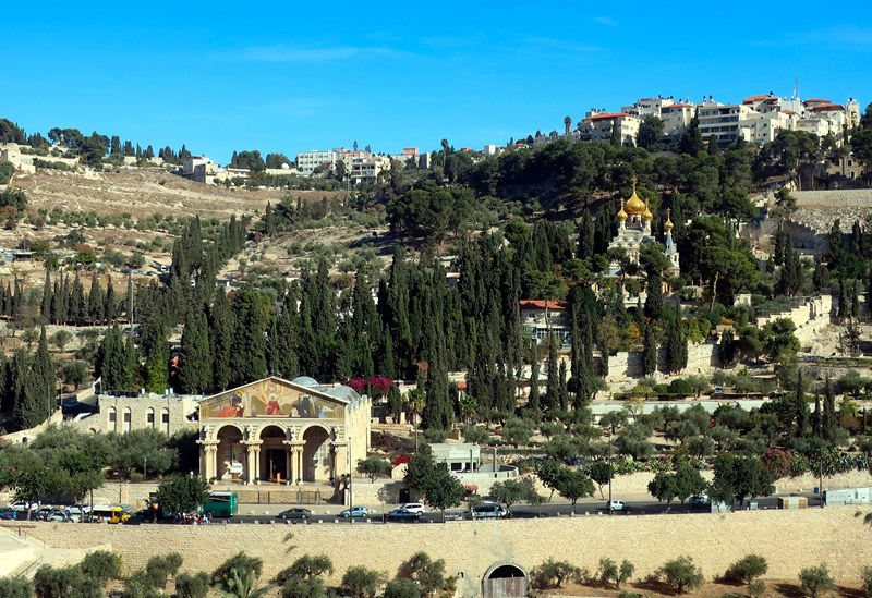 Photo of the Mount of Olives in Jerusalem showing several buildings and many trees under a clear blue sky for an Easter M word