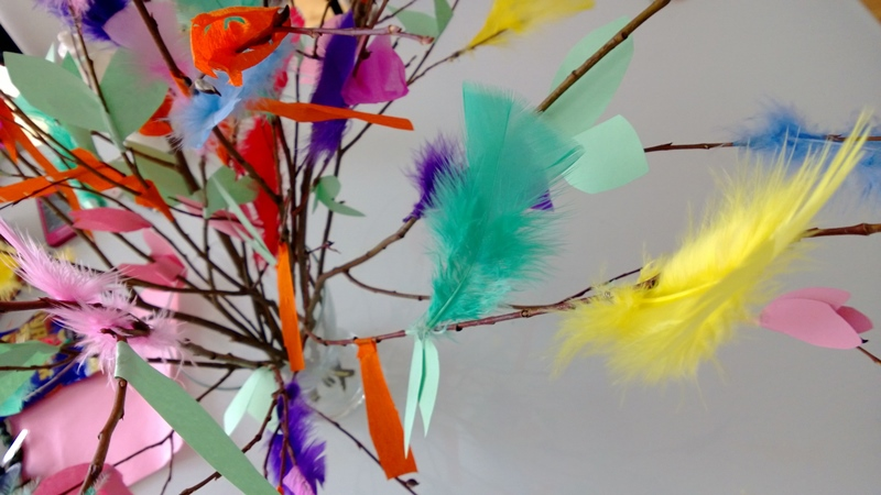 Several thin brown pussy willow branches in a bunch with many colorful feathers attached to them used in virvonta for Easter words beginning with letter V